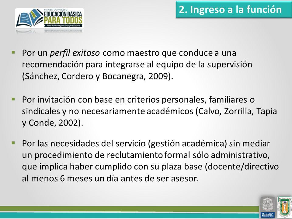 Por un perfil exitoso como maestro que conduce a una recomendación para integrarse al equipo de la supervisión (Sánchez, Cordero y Bocanegra, 2009).