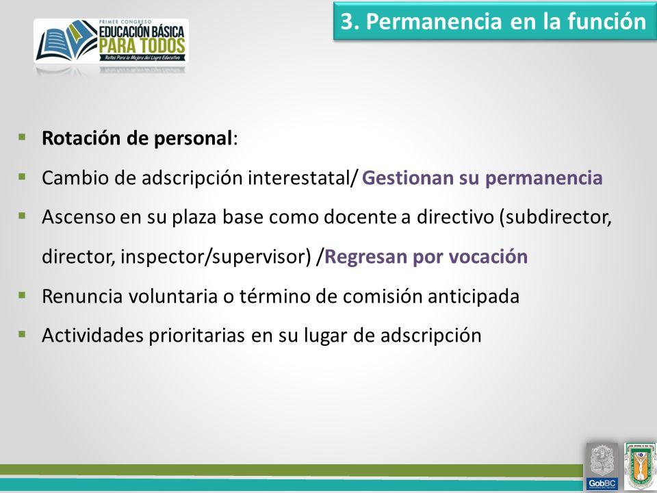 3. Permanencia en la función Rotación de personal: Cambio de adscripción interestatal/ Gestionan su permanencia Ascenso en su plaza base como docente