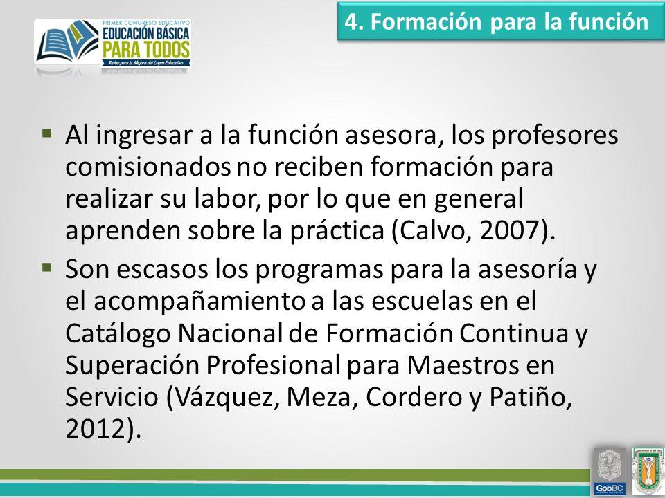 Al ingresar a la función asesora, los profesores comisionados no reciben formación para realizar su labor, por lo que en general aprenden sobre la práctica (Calvo, 2007).