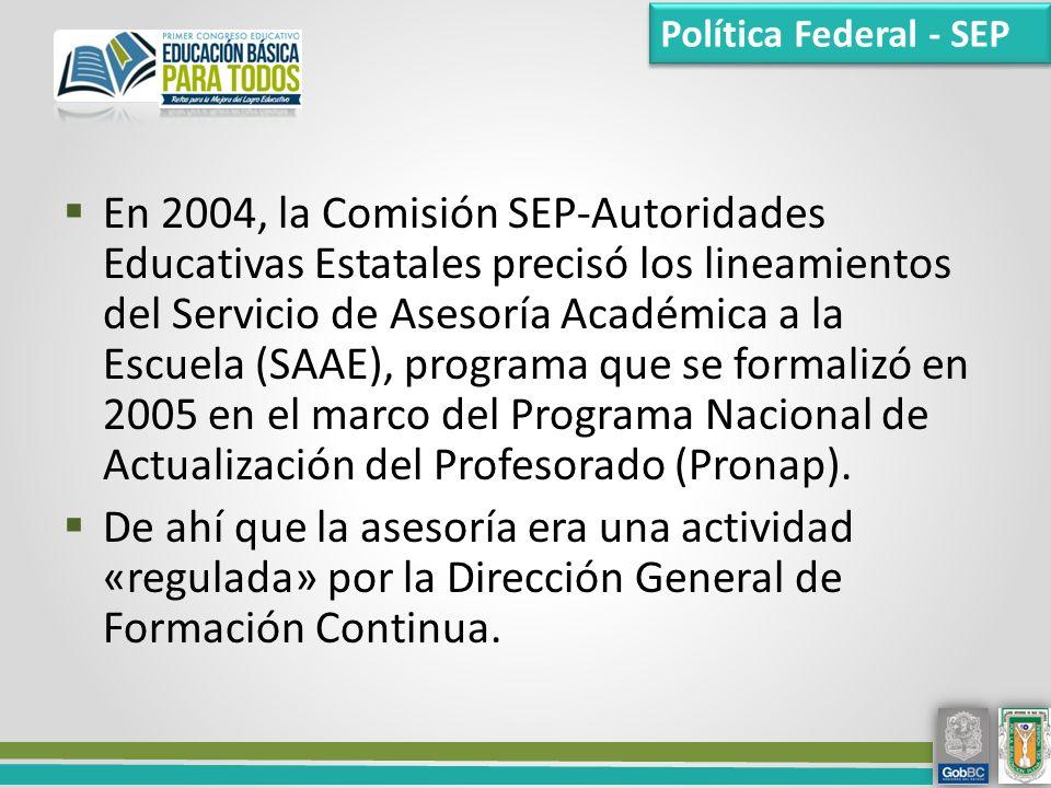 En 2004, la Comisión SEP-Autoridades Educativas Estatales precisó los lineamientos del Servicio de Asesoría Académica a la Escuela (SAAE), programa que se formalizó en 2005 en el marco del Programa Nacional de Actualización del Profesorado (Pronap).