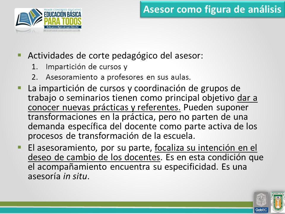 Actividades de corte pedagógico del asesor: 1.Impartición de cursos y 2.Asesoramiento a profesores en sus aulas.