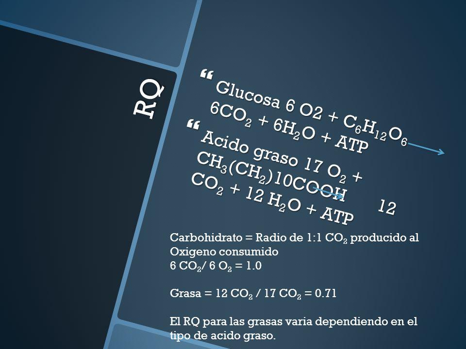 RQ Glucosa 6 O2 + C 6 H 12 O 6 6CO 2 + 6H 2 O + ATP Glucosa 6 O2 + C 6 H 12 O 6 6CO 2 + 6H 2 O + ATP Acido graso 17 O 2 + CH 3 (CH 2 )10COOH 12 CO 2 +