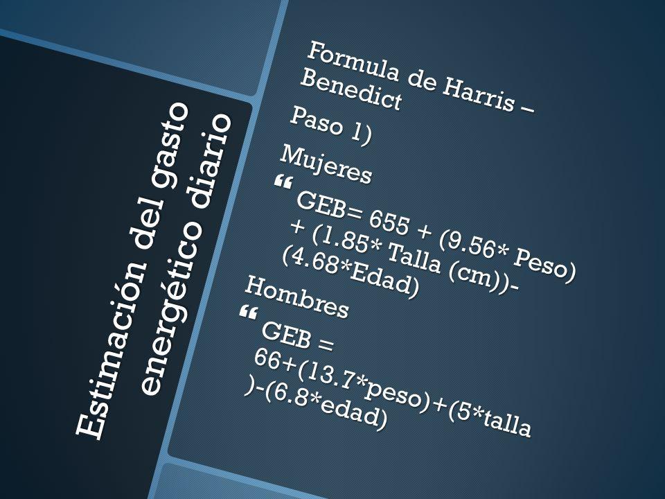 Estimación del gasto energético diario Formula de Harris – Benedict Paso 1) Mujeres GEB= 655 + (9.56* Peso) + (1.85* Talla (cm))- (4.68*Edad) GEB= 655