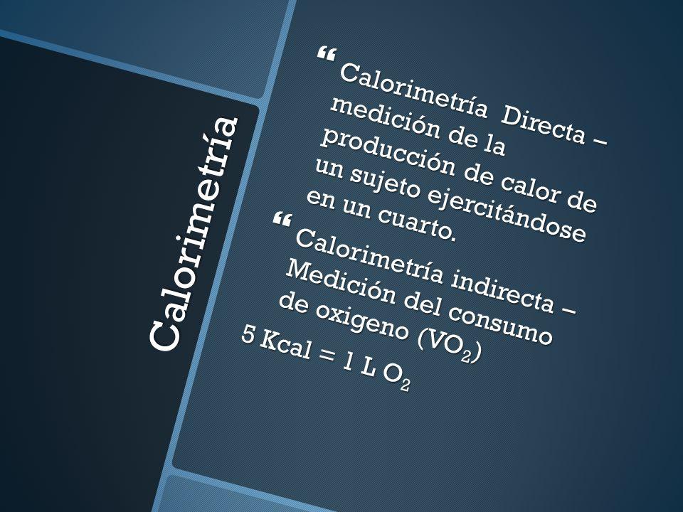 Calorimetría Calorimetría Directa – medición de la producción de calor de un sujeto ejercitándose en un cuarto. Calorimetría Directa – medición de la
