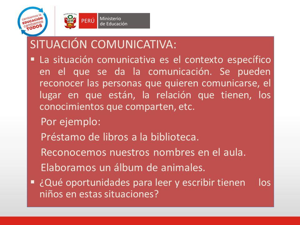 SITUACIÓN COMUNICATIVA: La situación comunicativa es el contexto específico en el que se da la comunicación. Se pueden reconocer las personas que quie