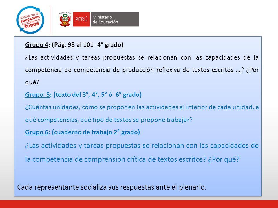 Grupo 4: (Pág. 98 al 101- 4° grado) ¿Las actividades y tareas propuestas se relacionan con las capacidades de la competencia de competencia de producc