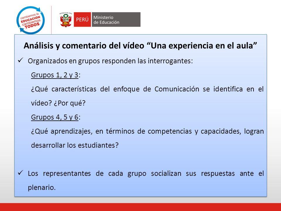 Análisis y comentario del vídeo Una experiencia en el aula Organizados en grupos responden las interrogantes: Grupos 1, 2 y 3: ¿Qué características de