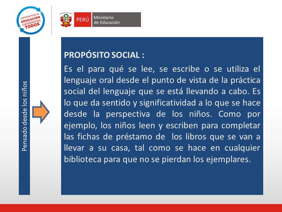 PROPÓSITO SOCIAL : Es el para qué se lee, se escribe o se utiliza el lenguaje oral desde el punto de vista de la práctica social del lenguaje que se e