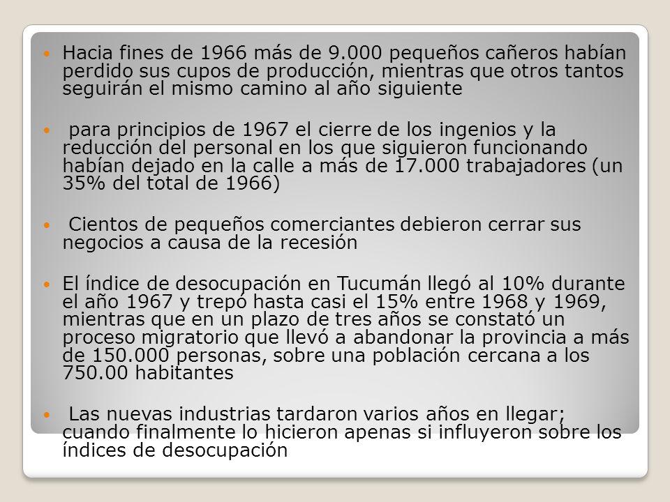Hacia fines de 1966 más de 9.000 pequeños cañeros habían perdido sus cupos de producción, mientras que otros tantos seguirán el mismo camino al año si