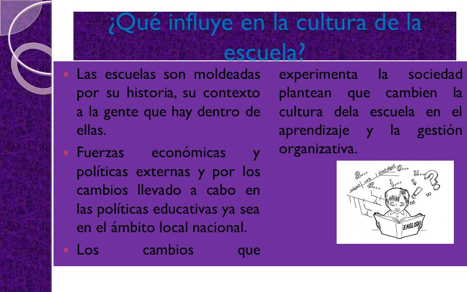 ¿Qué influye en la cultura de la escuela? Las escuelas son moldeadas por su historia, su contexto a la gente que hay dentro de ellas. Fuerzas económic