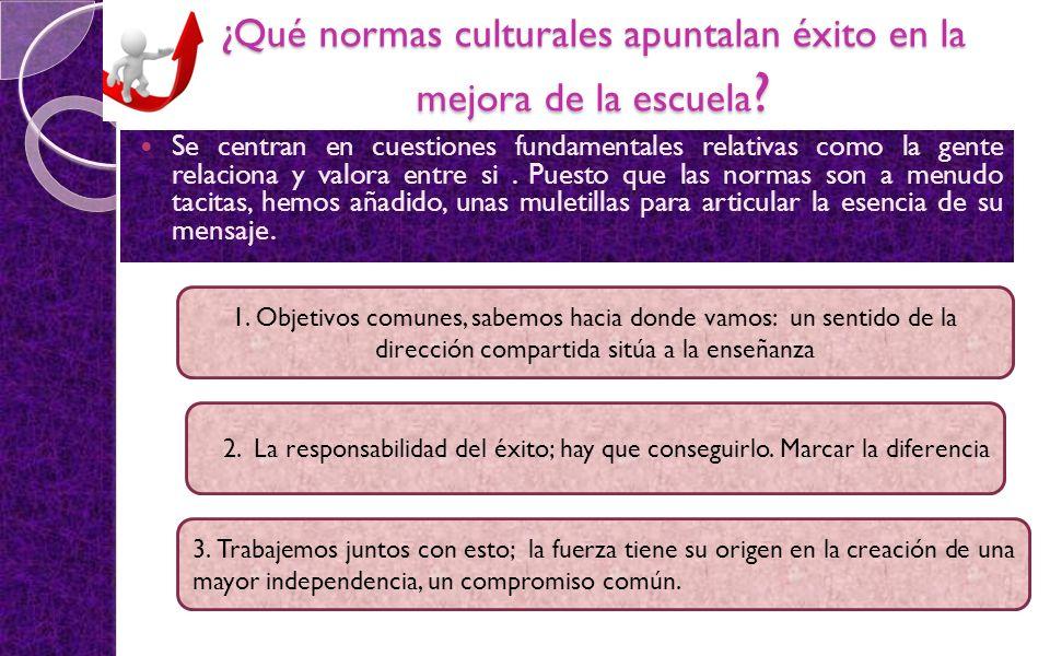 ¿Qué normas culturales apuntalan éxito en la mejora de la escuela ? Se centran en cuestiones fundamentales relativas como la gente relaciona y valora