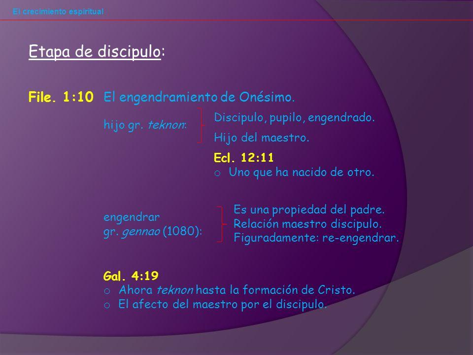 El crecimiento espiritual File.1:10El engendramiento de Onésimo.