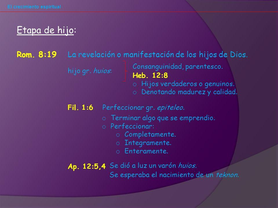 El crecimiento espiritual Rom.8:19La revelación o manifestación de los hijos de Dios.