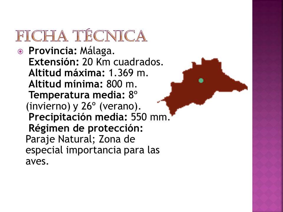 Provincia: Málaga.Extensión: 20 Km cuadrados. Altitud máxima: 1.369 m.