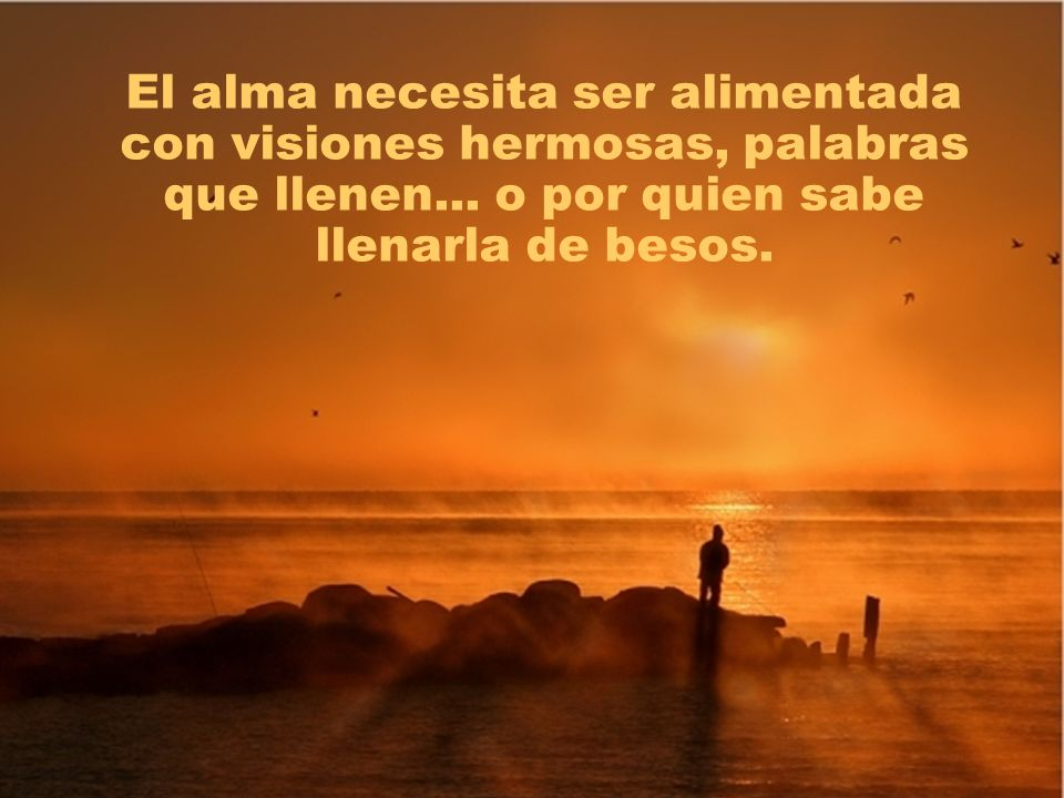 El alma necesita ser alimentada con visiones hermosas, palabras que llenen...