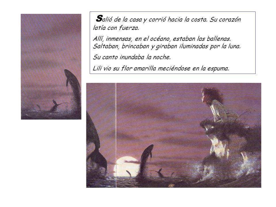 S alió de la casa y corrió hacia la costa. Su corazón latía con fuerza. Allí, inmensas, en el océano, estaban las ballenas. Saltaban, brincaban y gira