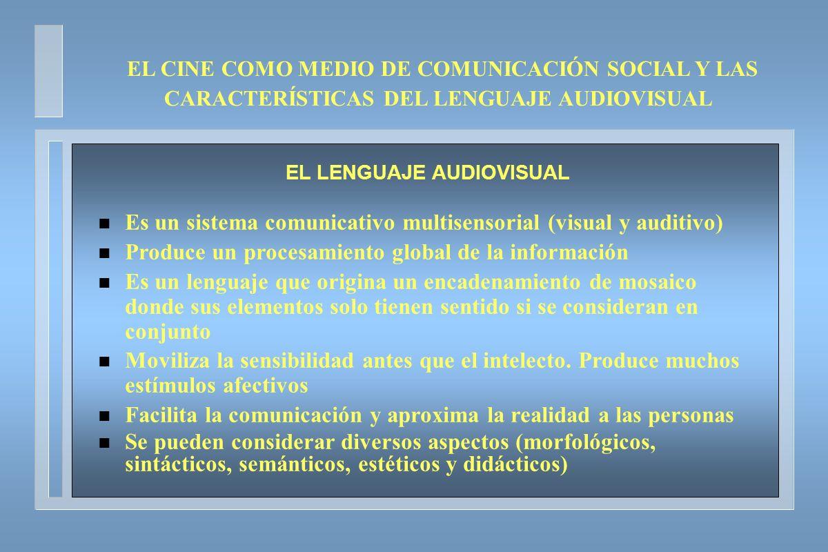EL CINE COMO MEDIO DE COMUNICACIÓN SOCIAL Y LAS CARACTERÍSTICAS DEL LENGUAJE AUDIOVISUAL EL LENGUAJE AUDIOVISUAL n Es un sistema comunicativo multisen