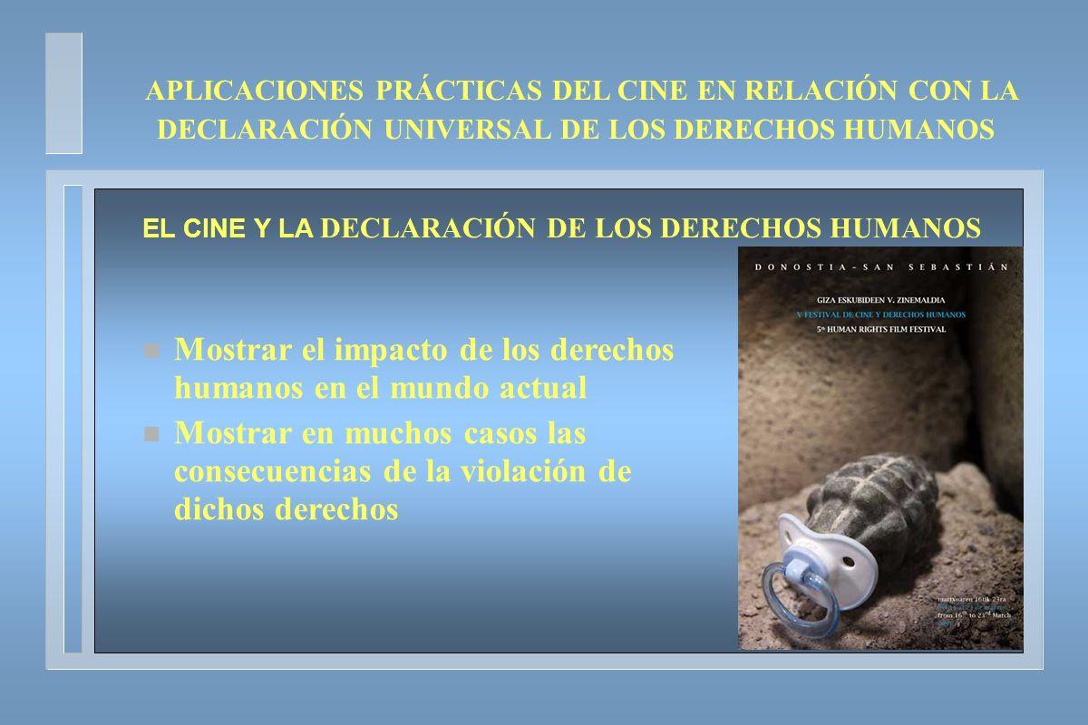 APLICACIONES PRÁCTICAS DEL CINE EN RELACIÓN CON LA DECLARACIÓN UNIVERSAL DE LOS DERECHOS HUMANOS EL CINE Y LA DECLARACIÓN DE LOS DERECHOS HUMANOS n Mo