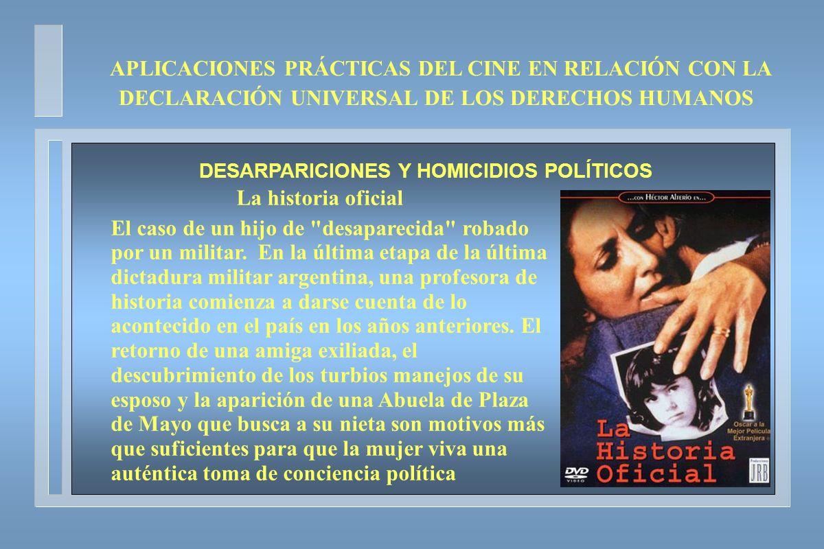 APLICACIONES PRÁCTICAS DEL CINE EN RELACIÓN CON LA DECLARACIÓN UNIVERSAL DE LOS DERECHOS HUMANOS DESARPARICIONES Y HOMICIDIOS POLÍTICOS La historia of