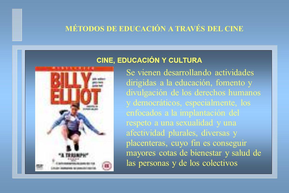 MÉTODOS DE EDUCACIÓN A TRAVÉS DEL CINE CINE, EDUCACIÓN Y CULTURA Se vienen desarrollando actividades dirigidas a la educación, fomento y divulgación d