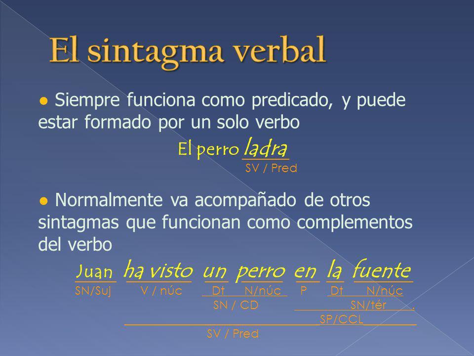 Está formado por una preposición seguida obligatoriamente de un SN que funciona como término El libro para las recetas ______ ____ __________ P Dt N /