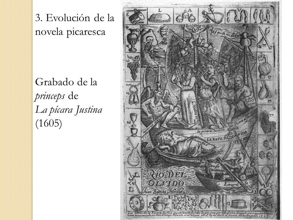 Grabado de la princeps de La pícara Justina (1605) 3. Evolución de la novela picaresca