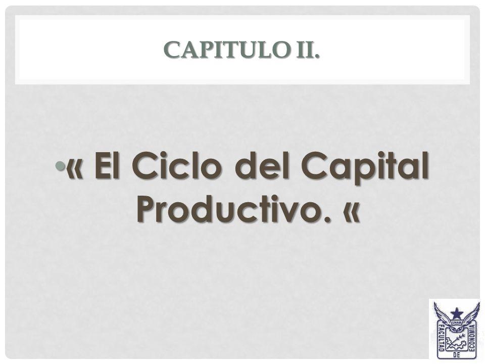 CAPITAL PRODUCTIVO.Interrumpe el ciclo del capital dinero.