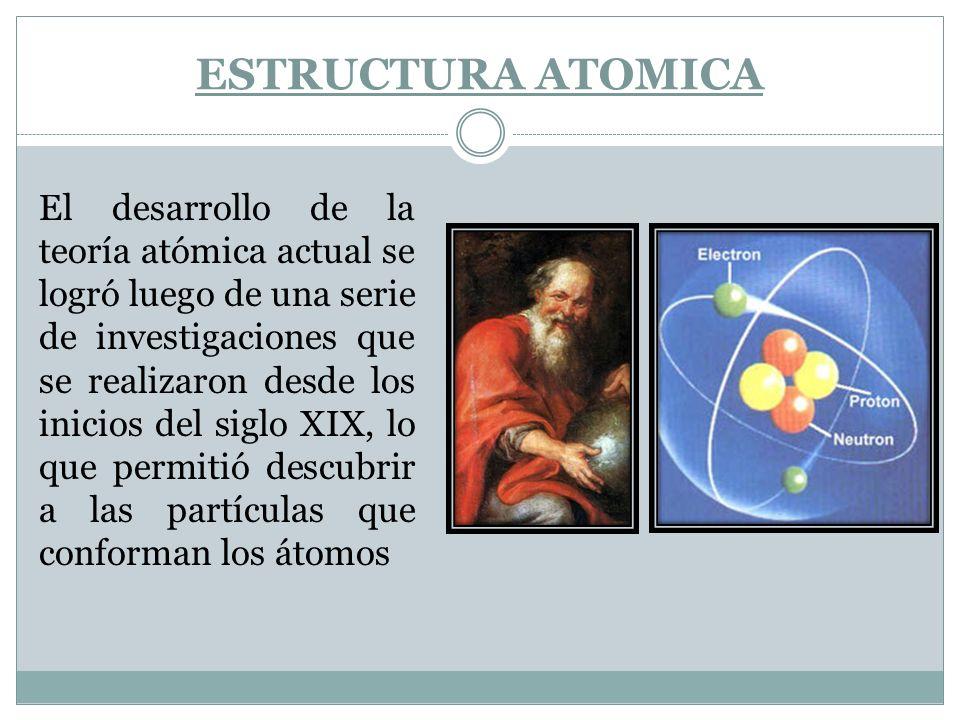 ESTRUCTURA ATOMICA El desarrollo de la teoría atómica actual se logró luego de una serie de investigaciones que se realizaron desde los inicios del si