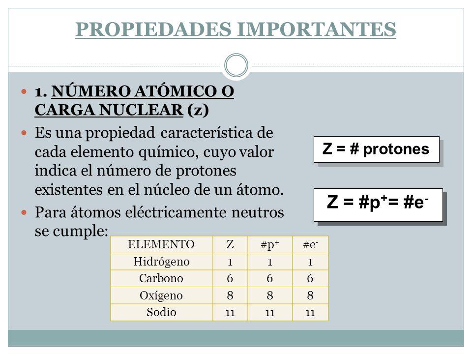 PROPIEDADES IMPORTANTES 1. NÚMERO ATÓMICO O CARGA NUCLEAR (z) Es una propiedad característica de cada elemento químico, cuyo valor indica el número de