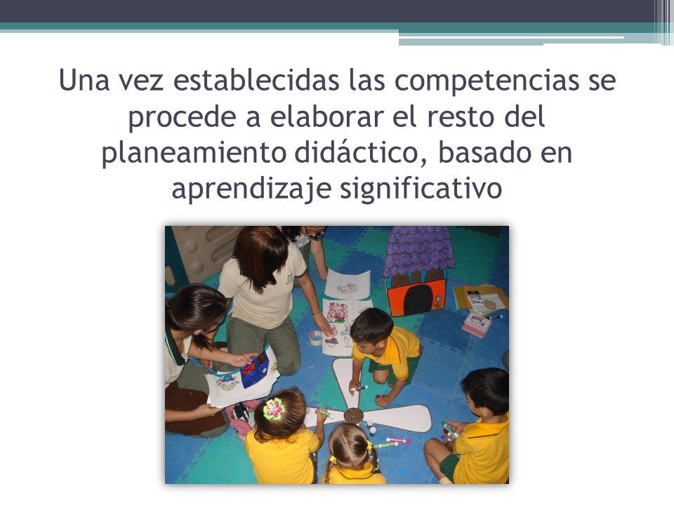 Una vez establecidas las competencias se procede a elaborar el resto del planeamiento didáctico, basado en aprendizaje significativo