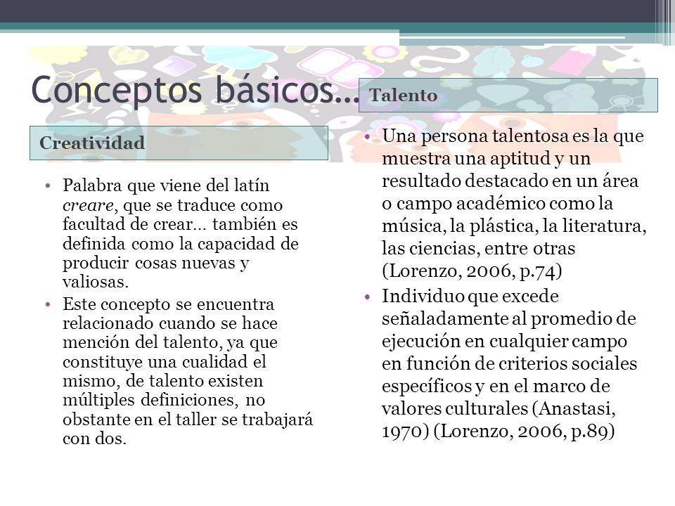 Conceptos básicos… Creatividad Talento Palabra que viene del latín creare, que se traduce como facultad de crear… también es definida como la capacida