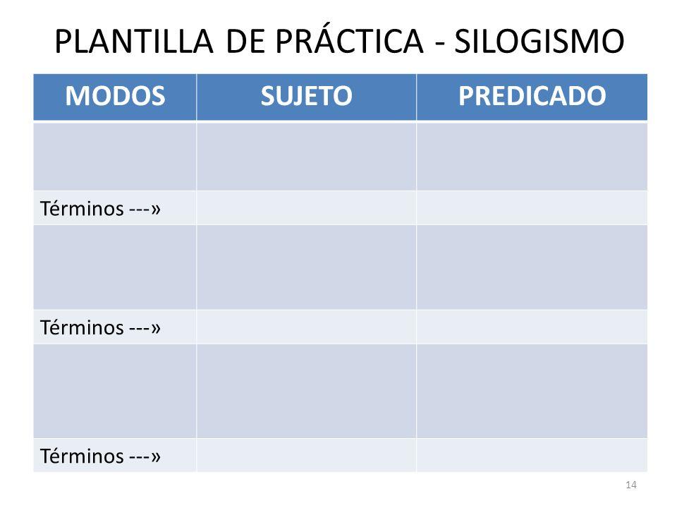 14 MODOSSUJETOPREDICADO Términos ---» PLANTILLA DE PRÁCTICA - SILOGISMO