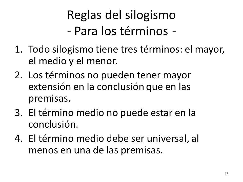 Reglas del silogismo - Para los términos - 1.Todo silogismo tiene tres términos: el mayor, el medio y el menor. 2.Los términos no pueden tener mayor e