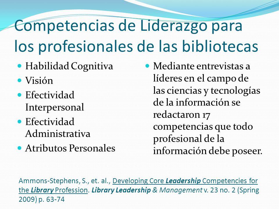 Competencias de Liderazgo para los profesionales de las bibliotecas Habilidad Cognitiva Visión Efectividad Interpersonal Efectividad Administrativa At