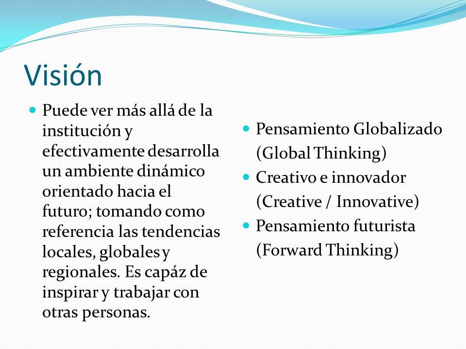 Visión Puede ver más allá de la institución y efectivamente desarrolla un ambiente dinámico orientado hacia el futuro; tomando como referencia las tendencias locales, globales y regionales.