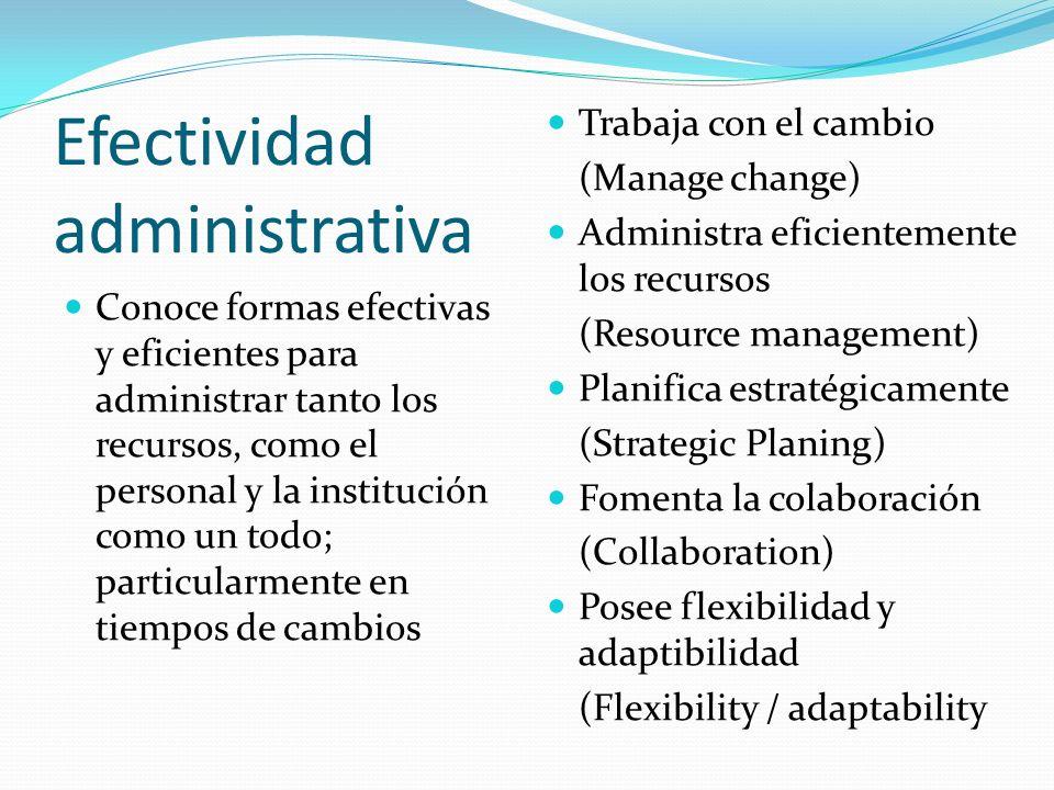 Efectividad administrativa Conoce formas efectivas y eficientes para administrar tanto los recursos, como el personal y la institución como un todo; p