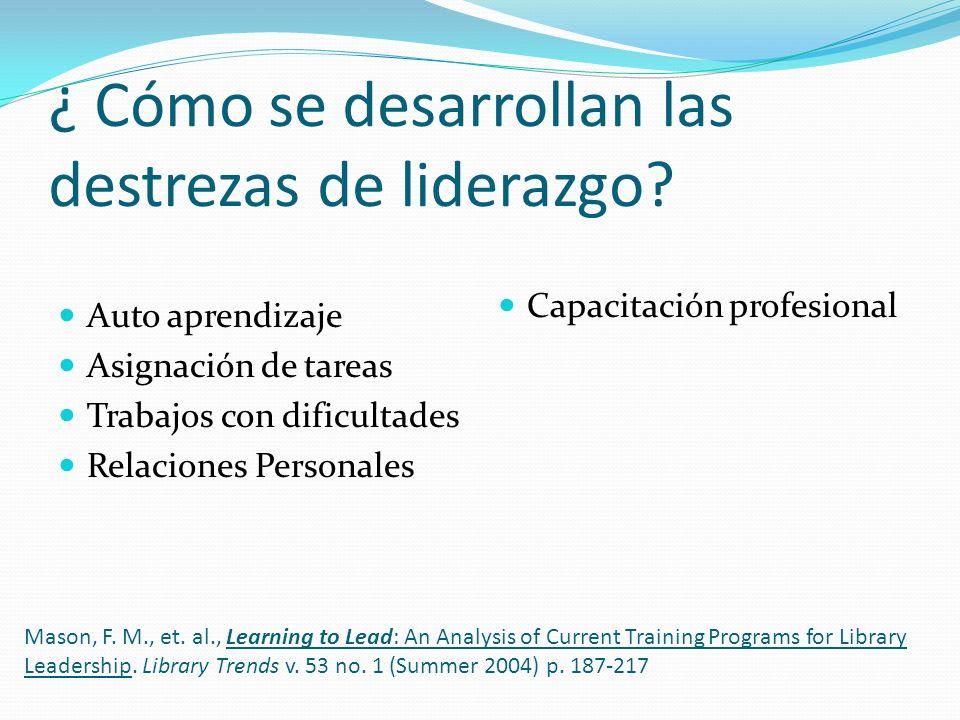 ¿ Cómo se desarrollan las destrezas de liderazgo? Auto aprendizaje Asignación de tareas Trabajos con dificultades Relaciones Personales Capacitación p
