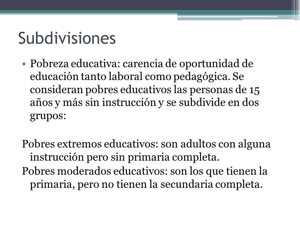Subdivisiones Pobreza educativa: carencia de oportunidad de educación tanto laboral como pedagógica. Se consideran pobres educativos las personas de 1