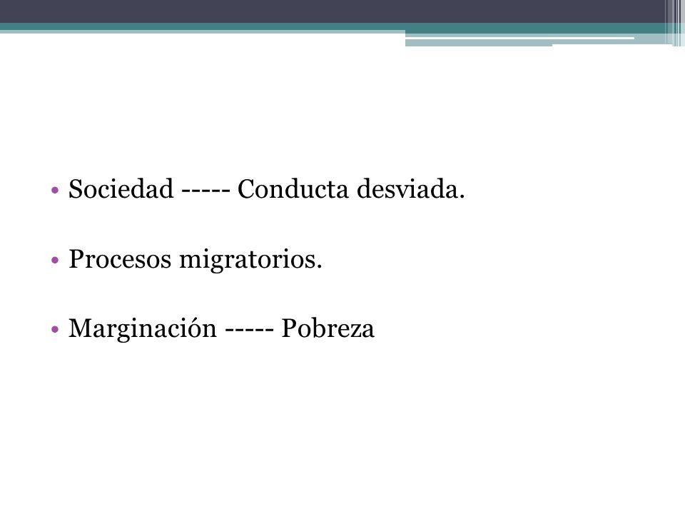 Sociedad ----- Conducta desviada. Procesos migratorios. Marginación ----- Pobreza