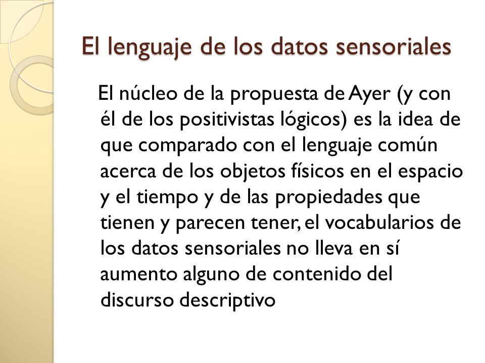 El lenguaje de los datos sensoriales El núcleo de la propuesta de Ayer (y con él de los positivistas lógicos) es la idea de que comparado con el lenguaje común acerca de los objetos físicos en el espacio y el tiempo y de las propiedades que tienen y parecen tener, el vocabularios de los datos sensoriales no lleva en sí aumento alguno de contenido del discurso descriptivo