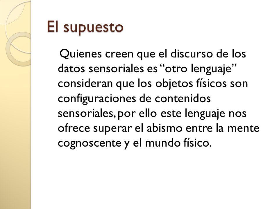 El supuesto Quienes creen que el discurso de los datos sensoriales es otro lenguaje consideran que los objetos físicos son configuraciones de contenidos sensoriales, por ello este lenguaje nos ofrece superar el abismo entre la mente cognoscente y el mundo físico.