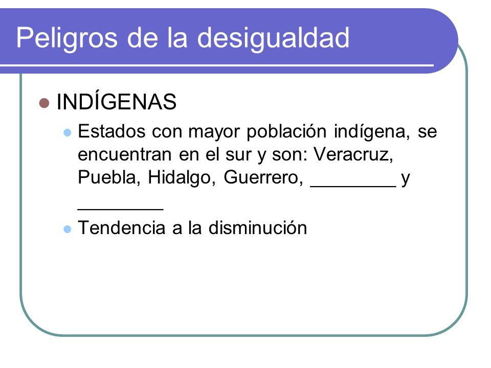 INDÍGENAS Estados con mayor población indígena, se encuentran en el sur y son: Veracruz, Puebla, Hidalgo, Guerrero, ________ y ________ Tendencia a la disminución Peligros de la desigualdad