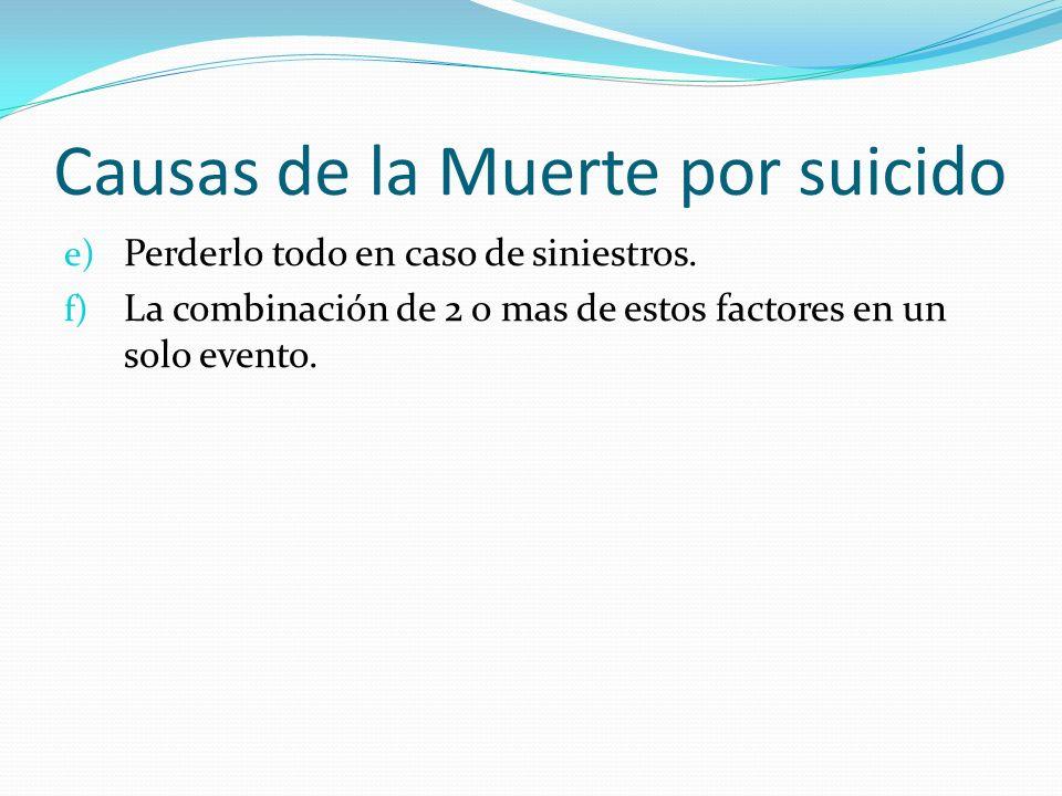 Causas de la Muerte por suicido e) Perderlo todo en caso de siniestros. f) La combinación de 2 o mas de estos factores en un solo evento.