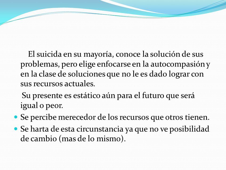 El suicida en su mayoría, conoce la solución de sus problemas, pero elige enfocarse en la autocompasión y en la clase de soluciones que no le es dado lograr con sus recursos actuales.