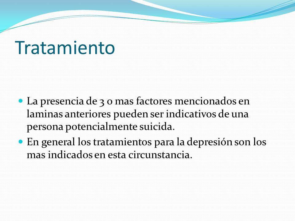 Tratamiento La presencia de 3 o mas factores mencionados en laminas anteriores pueden ser indicativos de una persona potencialmente suicida. En genera