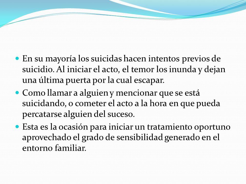 En su mayoría los suicidas hacen intentos previos de suicidio. Al iniciar el acto, el temor los inunda y dejan una última puerta por la cual escapar.