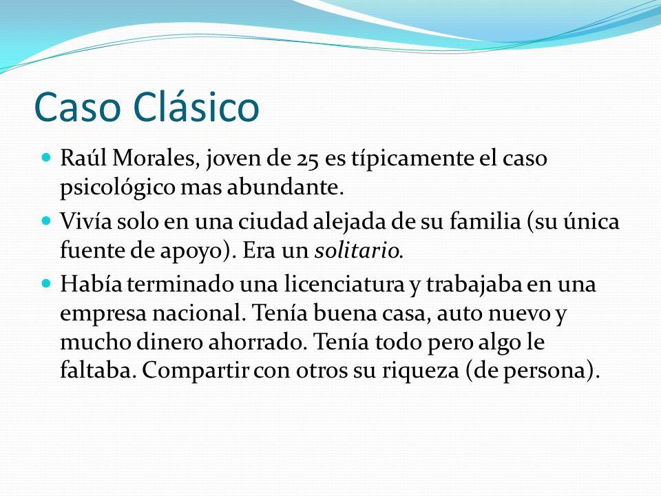 Caso Clásico Raúl Morales, joven de 25 es típicamente el caso psicológico mas abundante. Vivía solo en una ciudad alejada de su familia (su única fuen