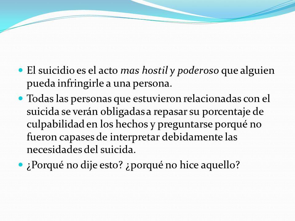 El suicidio es el acto mas hostil y poderoso que alguien pueda infringirle a una persona. Todas las personas que estuvieron relacionadas con el suicid