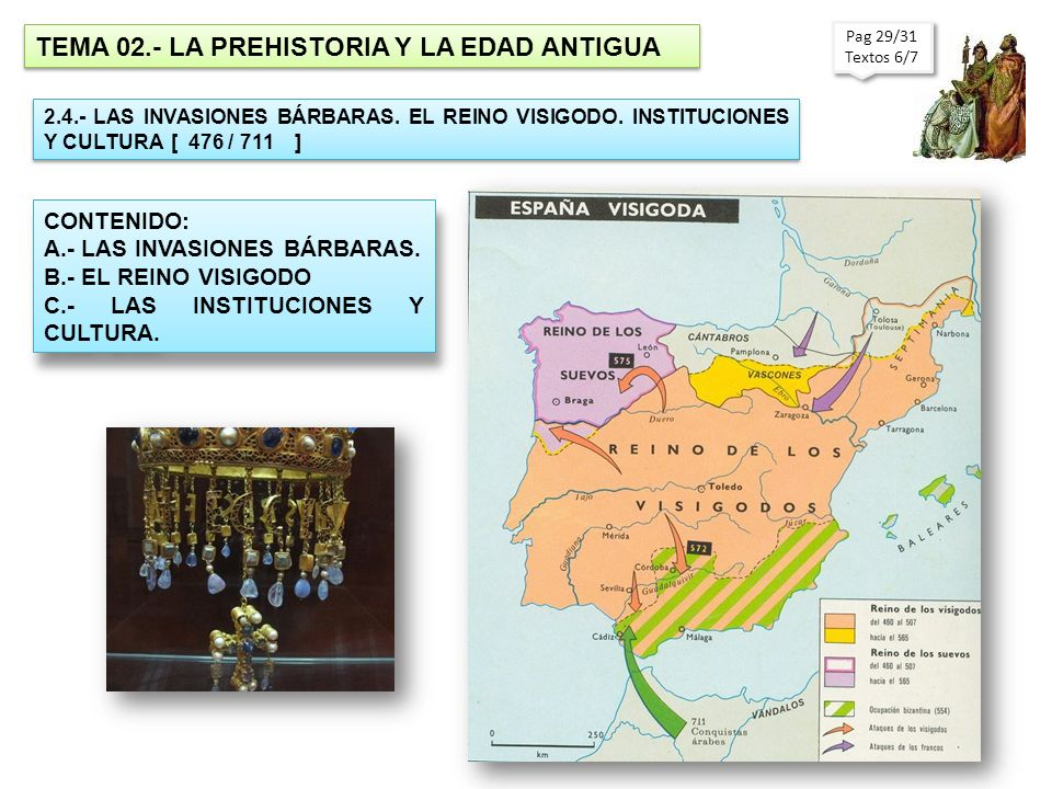 TEMA 02.- LA PREHISTORIA Y LA EDAD ANTIGUA 2.4.- LAS INVASIONES BÁRBARAS. EL REINO VISIGODO. INSTITUCIONES Y CULTURA [ 476 / 711 ] CONTENIDO: A.- LAS