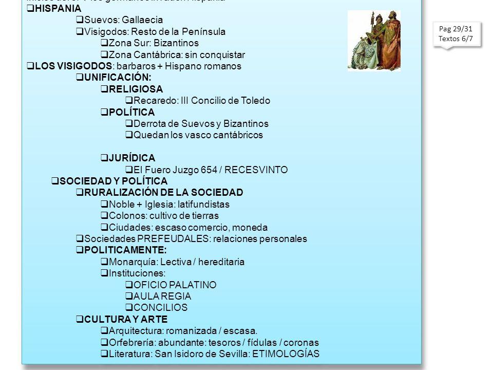 Pag 29/31 Textos 6/7 Pag 29/31 Textos 6/7 LOS GERMANOS EN HISPANIA S. V-VIII Inicios del s. V los germanos invaden Hispania HISPANIA Suevos: Gallaecia